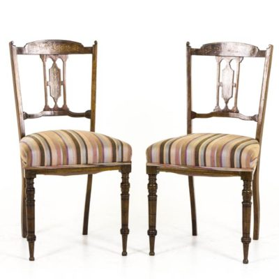 B291 A Pair Of 19th Century Scottish Inlaid Parlor Chairs 1800 1899