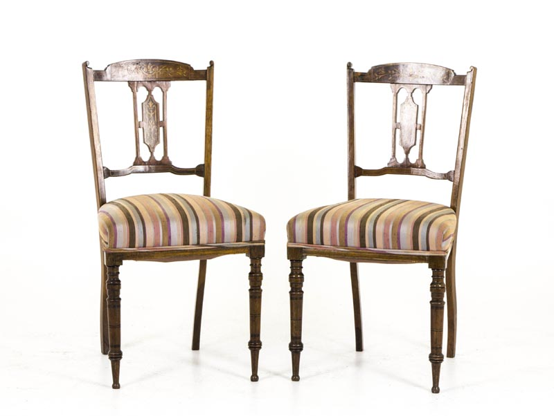 B291 A Pair of 19th Century Scottish Inlaid Parlor Chairs 1800-1899 - Antique Rosewood Chairs Archives - Heatherbrae Antiques