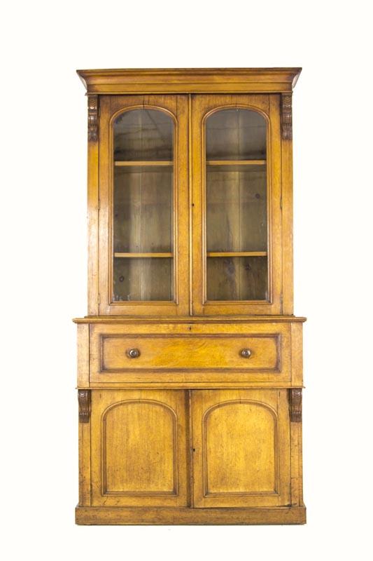 B304 Antique Scottish Victorian Oak Secretary, Fall Front Desk, Bookcase -  Heatherbrae Antiques - B304 Antique Scottish Victorian Oak Secretary, Fall Front Desk