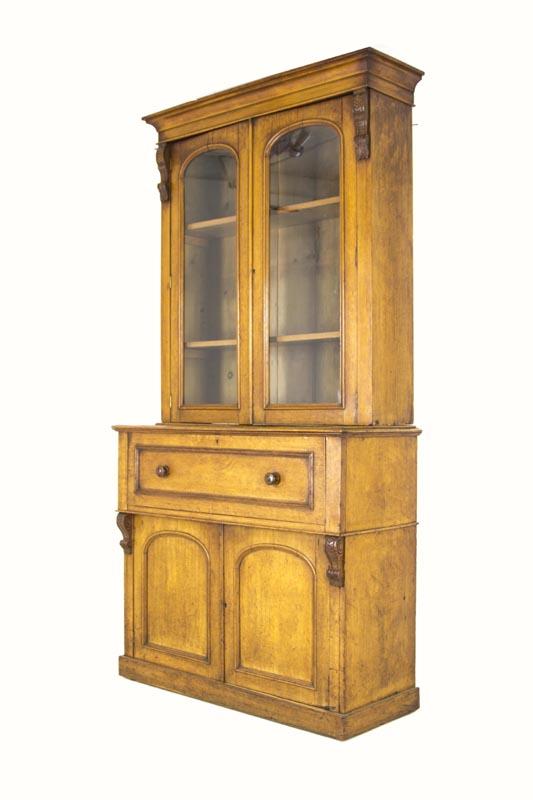 B304 Antique Scottish Victorian Oak Secretary, Fall Front Desk, Bookcase - B304 Antique Scottish Victorian Oak Secretary, Fall Front Desk