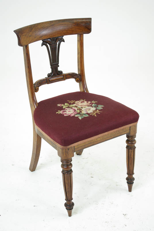 B283 Pair 18th Century Rosewood Dining Chairs With Needlepoint, 1840    Heatherbrae Antiques