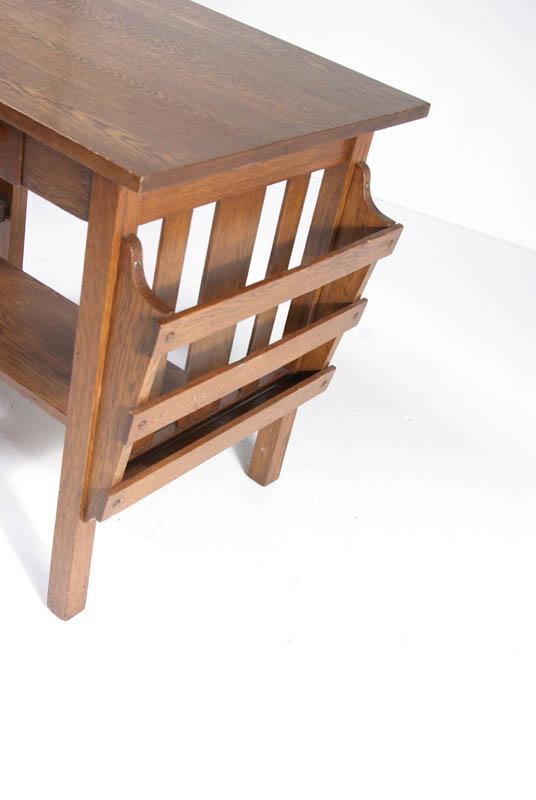 Antique Arts U0026 Crafts Mission Desk   Quarter Sawn Tiger Oak   Library Table    B356