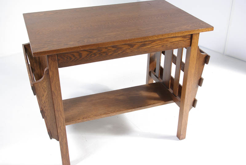Antique Arts & Crafts Mission Desk | Quarter Sawn Tiger Oak | Library Table  | B356 - Antique Arts & Crafts Mission Desk Library Table Quarter Sawn