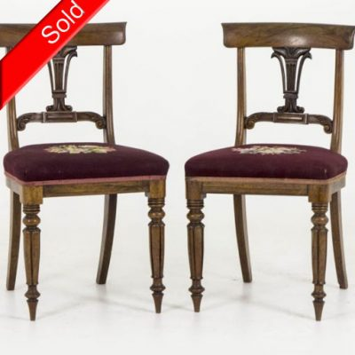 B283 Pair 18th Century Rosewood Dining Chairs with Needlepoint, 1840 - Antique Rosewood Chairs Archives - Heatherbrae Antiques