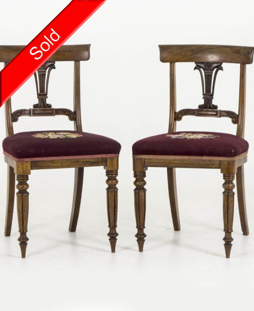 B283 Pair 18th Century Rosewood Dining Chairs With Needlepoint, 1840