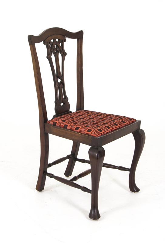 B302 Antique Scottish Mahogany Dining Chairs Carved Open