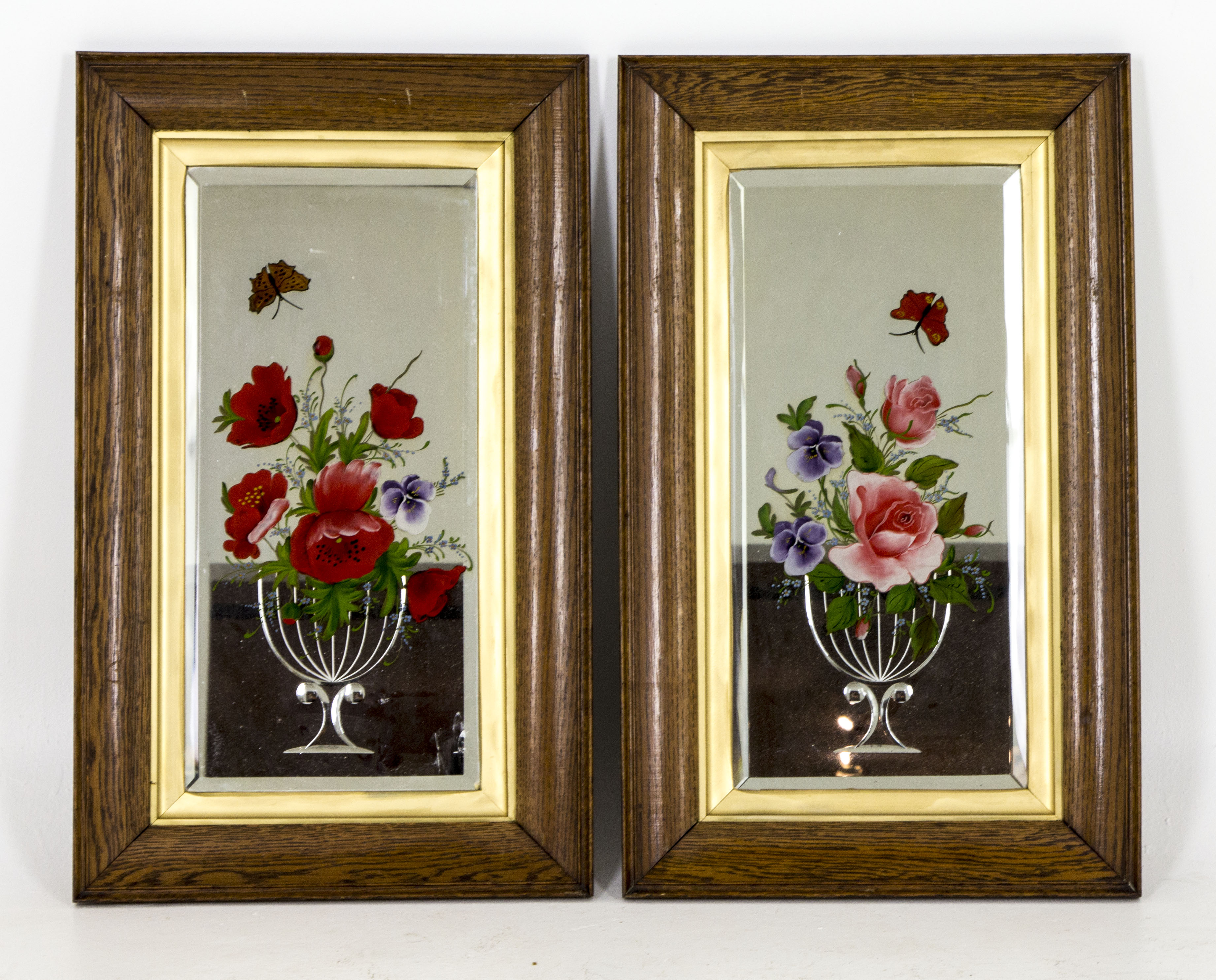 B365 Antique Scottish Framed Oak Bevelled Mirrors Acid
