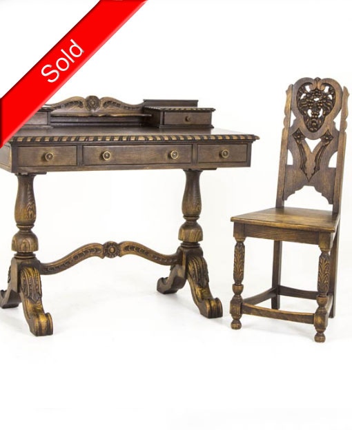 B376 Antique Carved Oak Writing Desk with Matching Chair - B376 Antique Carved Oak Writing Desk With Matching Chair