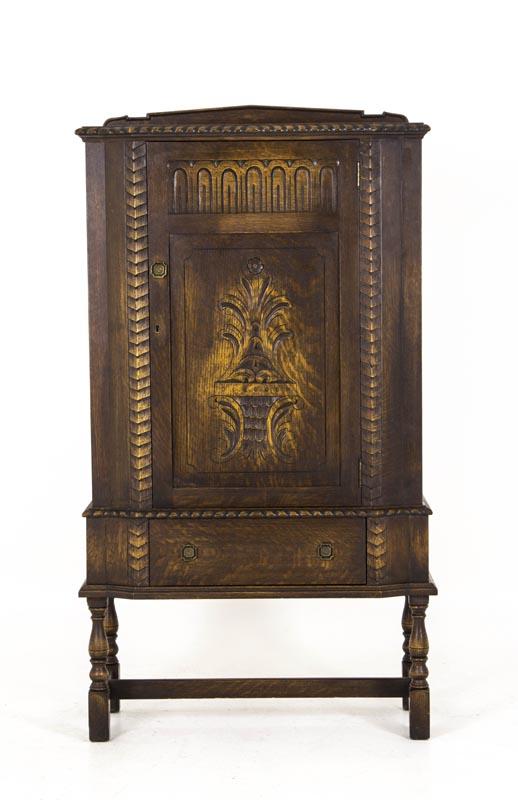 B378 Carved Oak Single Door Cabinet Wjustable Shelves H Krug