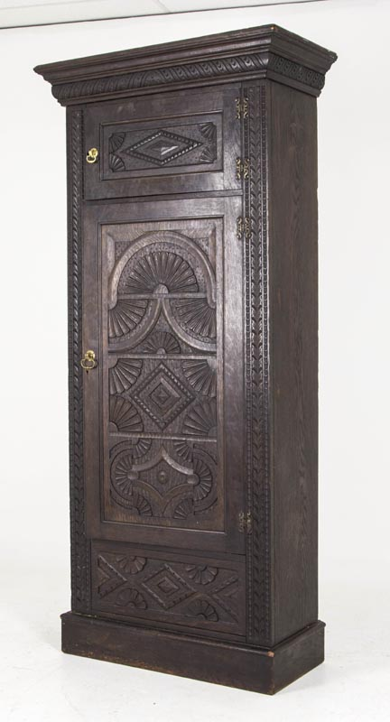 b391 heavily carved victorian oak single door armoire. Black Bedroom Furniture Sets. Home Design Ideas