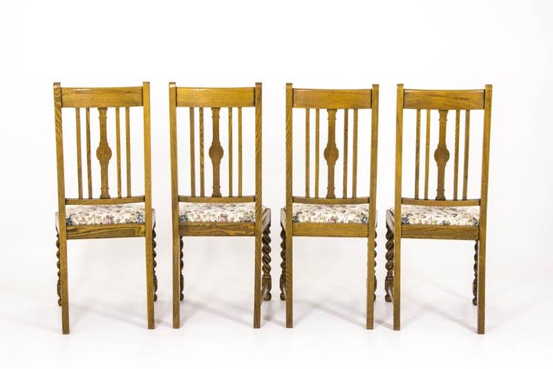 B423 Four Antique Barley Twist Oak Dining Chairs - B423 Four Antique Barley Twist Oak Dining Chairs - Heatherbrae Antiques