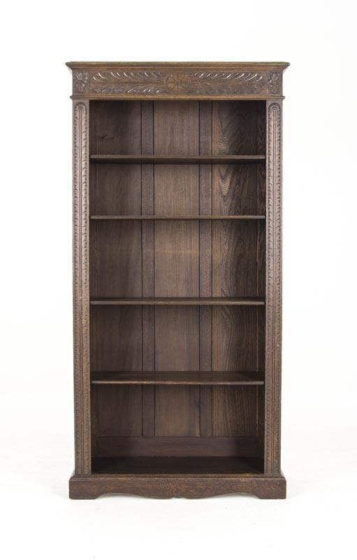 B452 Antique Scottish Victorian Tall Heavily Carved Oak Bookcase Bookshelf