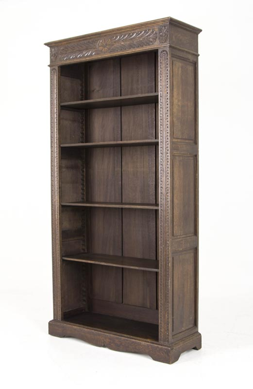 B452 Antique Scottish Victorian Tall Heavily Carved Oak Bookcase Bookshelf