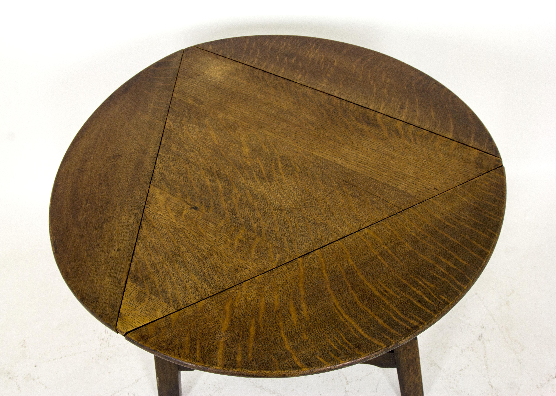 B453 Antique Scottish Triangle Oak Drop Leaf Table   Heatherbrae Antiques