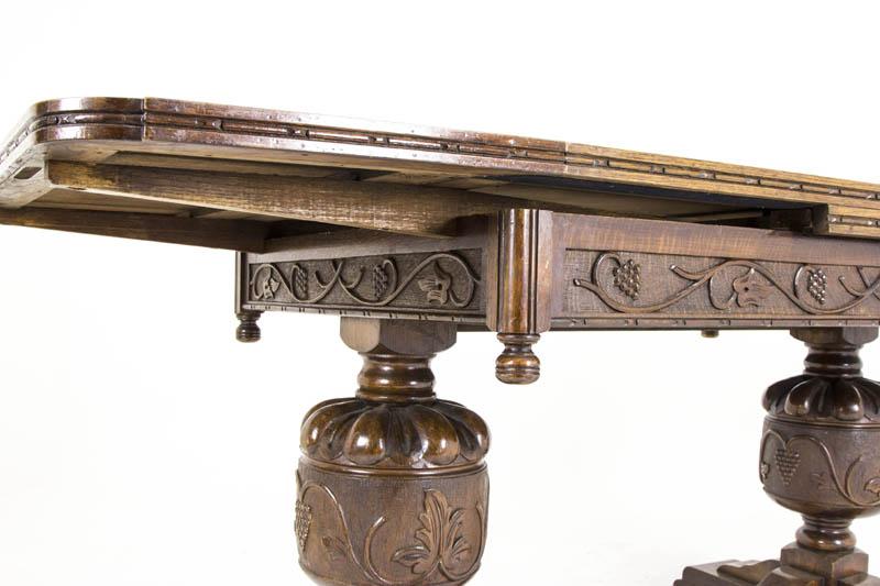 B464 Antique Scottish Oak Refectory Draw Leaf Dining Table