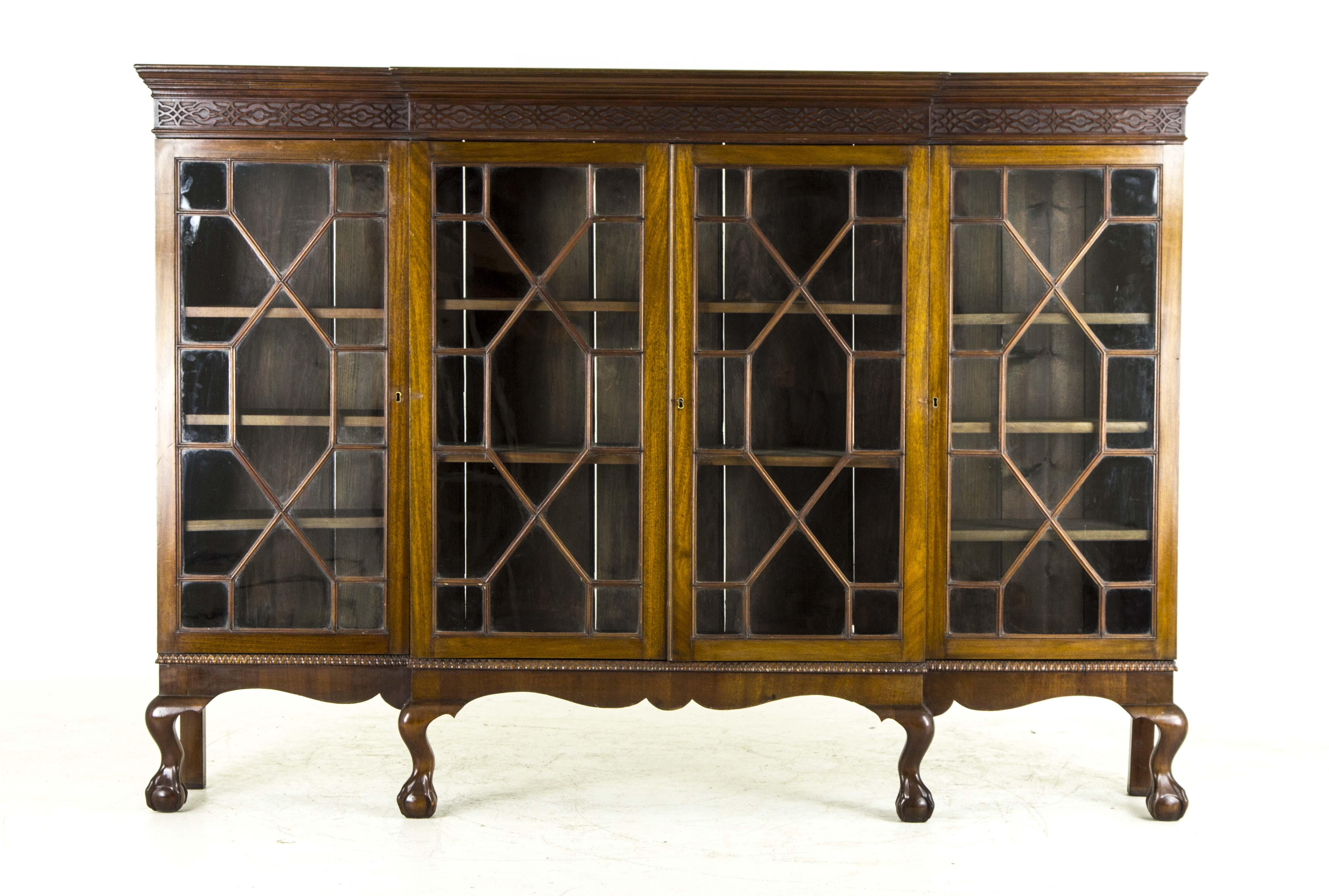 B478 Large Antique Scottish Edwardian Gany Four Door Bookcase Display China Cabinet