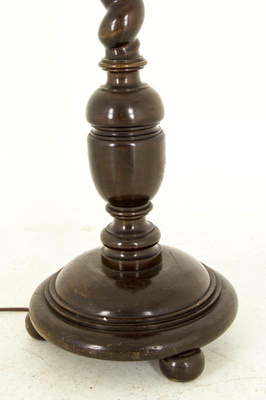 B516 Antique Scottish Solid Walnut Standing Barley Twist Floor Lamp