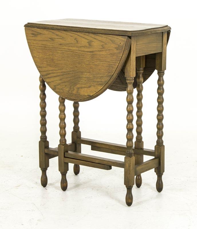 antique gateleg table scottish petite oak drop leaf bobbin legs b620