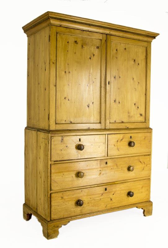 Pine Linen Press Antique Armoire Scottish Victorian