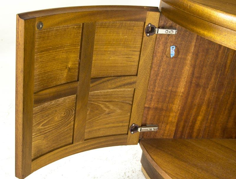 Mid Century Corner Cabinet: B480A Mid Century Modern Teak Open Corner, Curio Cabinet