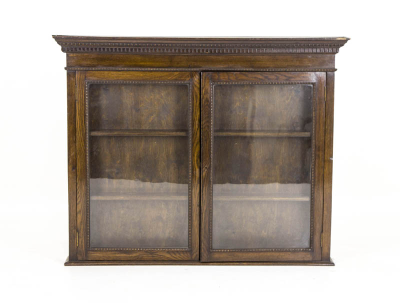 B492a Oak Glass Fronted Display Cabinet Hanging Wall