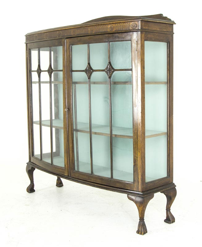 B492 Antique Scottish Oak Bow Front China Cabinet, Display Cabinet, Curio  Cabinet