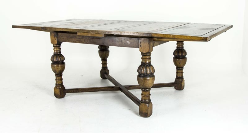 Delicieux Oak Refectory Table | Antique Scottish Table | Draw Leaf Table, Pub Table |  B551