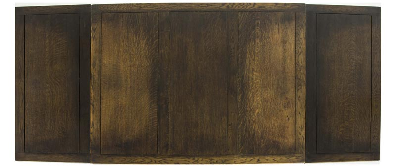B551 Large Antique Scottish Oak Refectory Dining Table Draw Leaf