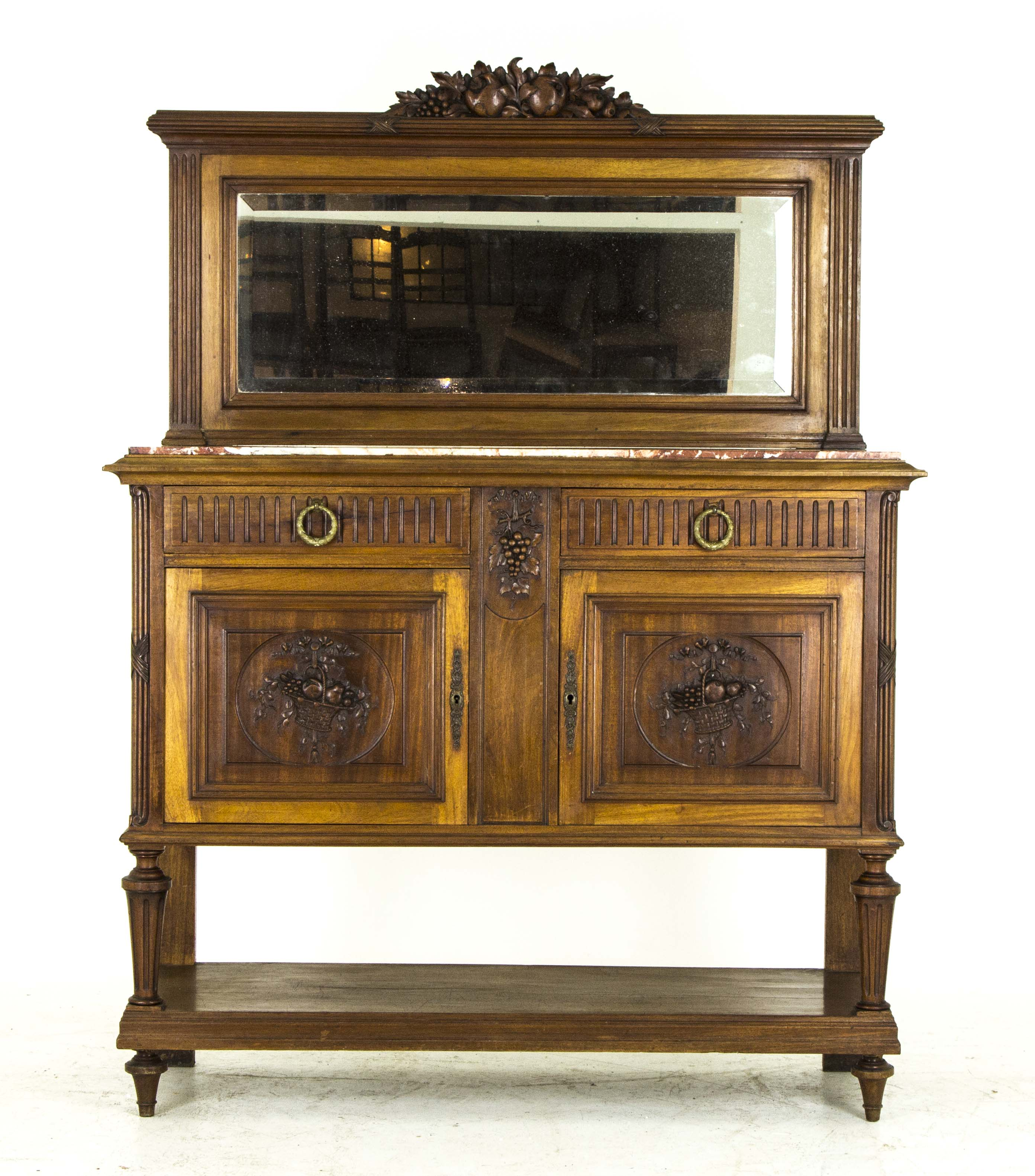 B16 Antique French Walnut Marble Top Sideboard, Credenza, with ...