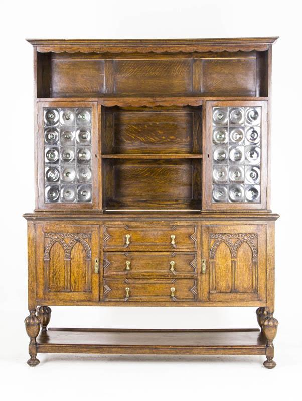 B580 Antique Scottish Oak Welsh Dresser Sideboard Buffet With Bullseye Gl Tiger