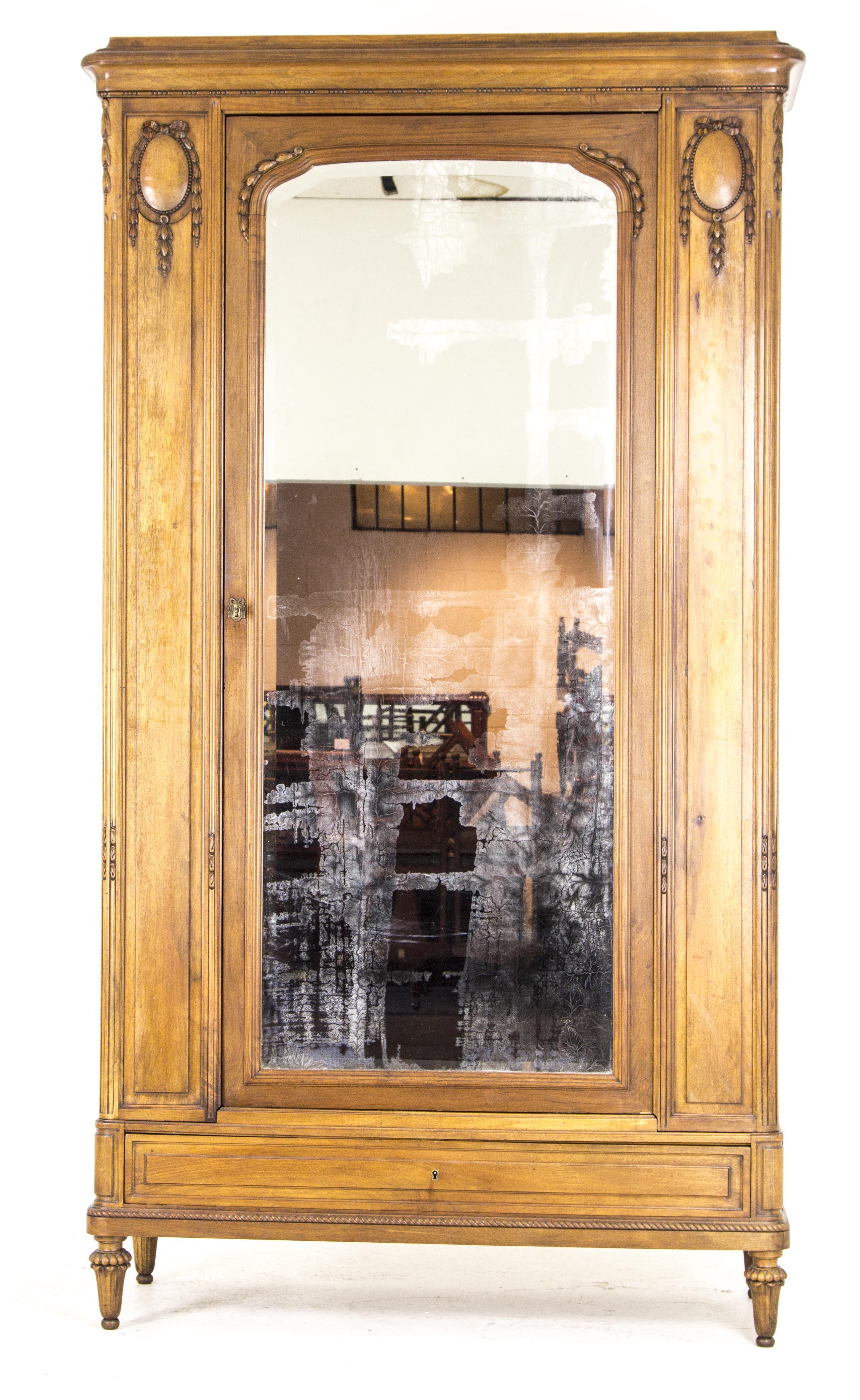 Charmant B626 Antique French Walnut Single Door Armoire, Wardrobe, Closet With  Beveled Mirror