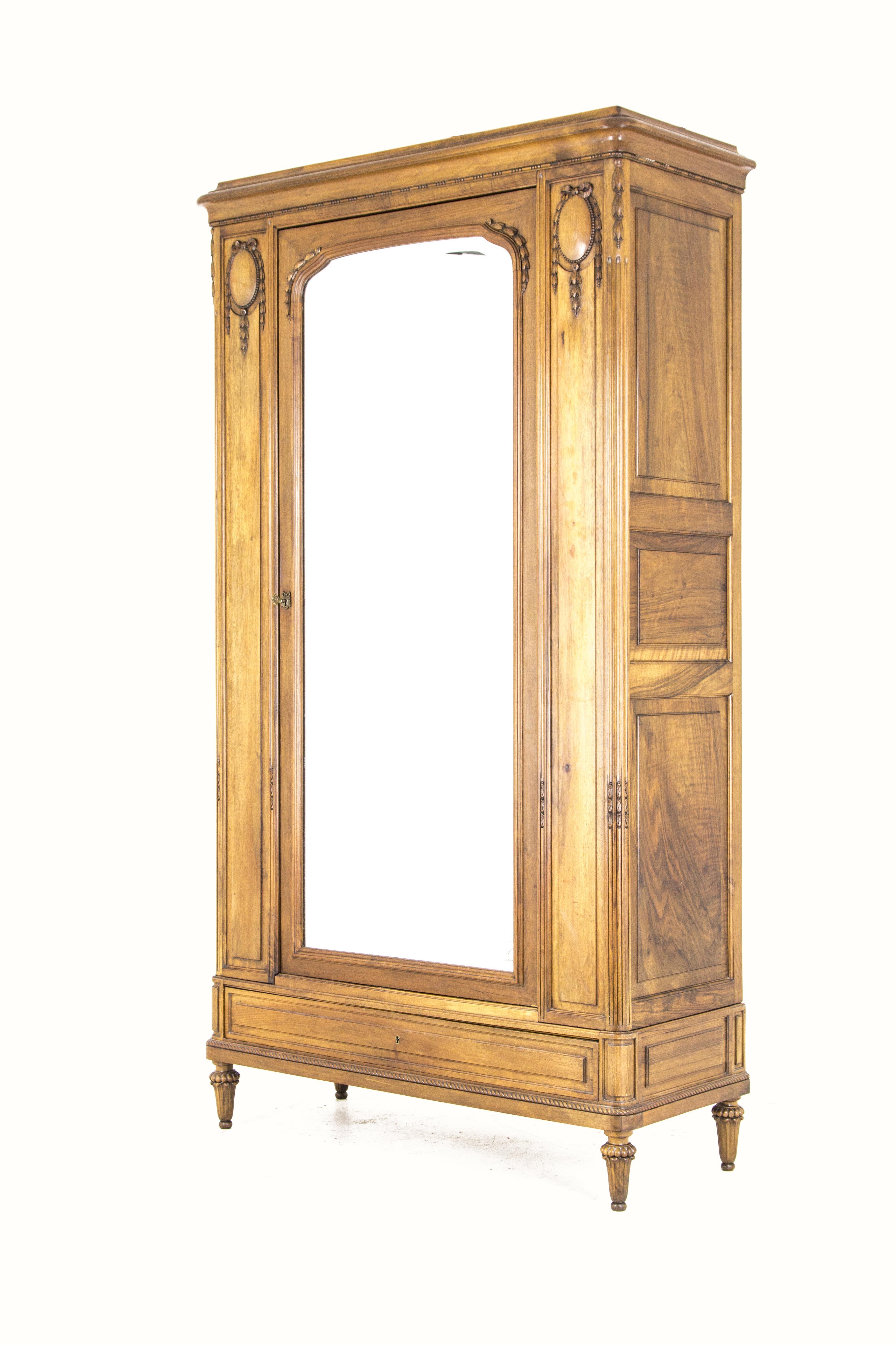 B626 Antique French Walnut Single Door Armoire Wardrobe