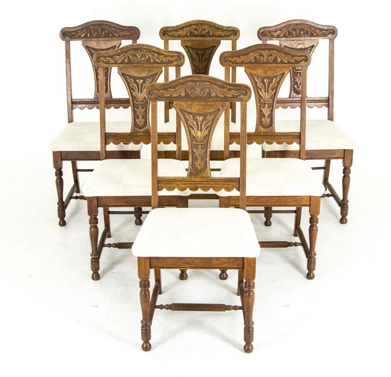 B654 Set Of Six Carved Oak Dining ...