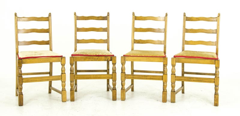 B676 Antique Scottish Beechwood Ladder Back Kitchen Chairs With Lift Out  Seats   Heatherbrae Antiques