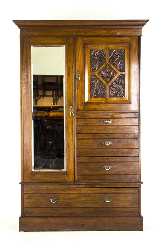 Antique Armoire Mahogany Wardrobe Victorian Dresser B688