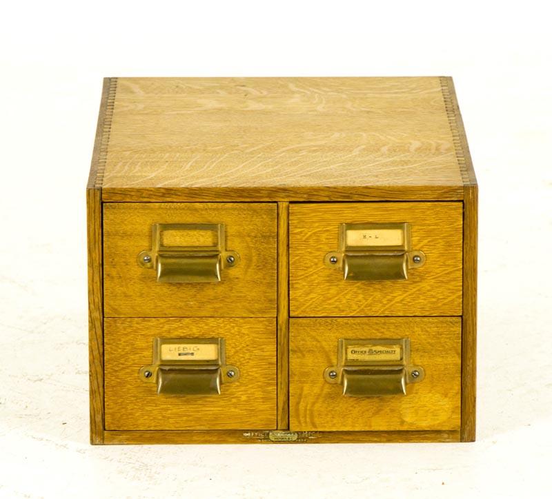 B687 Antique Tiger Oak 4 Drawer Library Index File Card Cabinet - B687 Antique Tiger Oak 4 Drawer Library Index File Card Cabinet