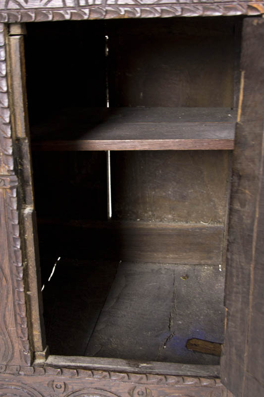 antique cabinet - Antique Oak Cupboard Scottish Heavily Carved Oak Cabinet B564A