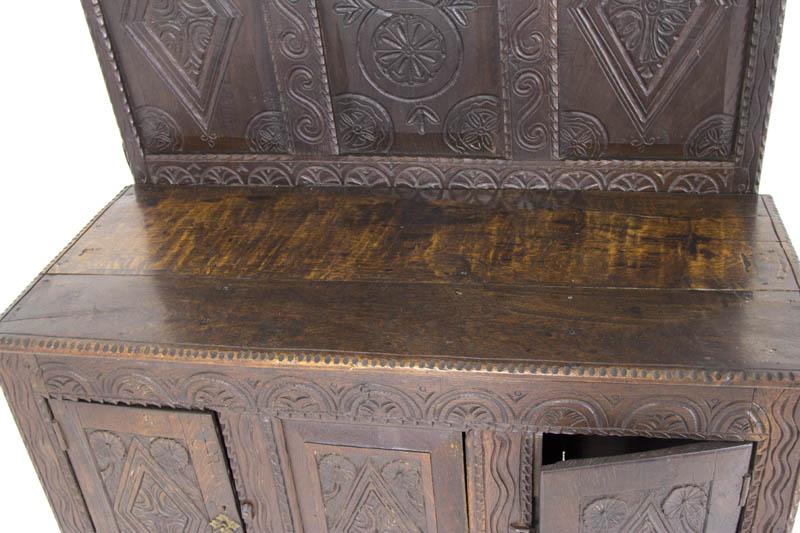 Antique Oak Cupboard | Scottish Heavily Carved Oak Cabinet | B564A