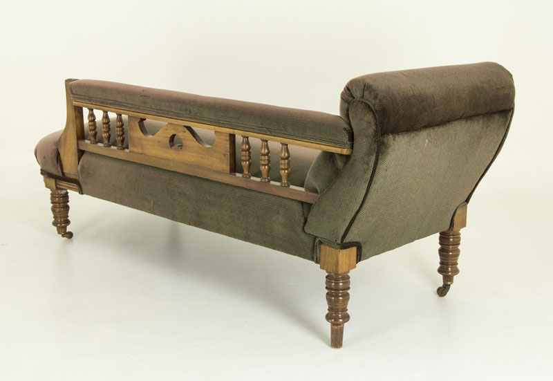 Antique walnut sofa chaise lounger vintage chaise for Antique chaise sofa bed