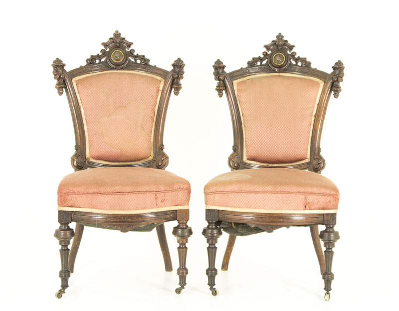 victorian parlour chairs - Victorian Parlor Chairs, American Walnut, John Jelliff, 1870