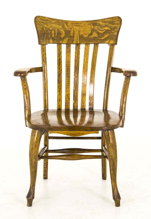 Antique bankers chair - Antique Wooden Bankers Chair Mission Tiger Oak America, 1920