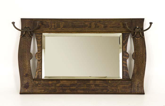 Antique Mirror Bevelled Glass Mirror Quartersawn Oak Brass Hooks
