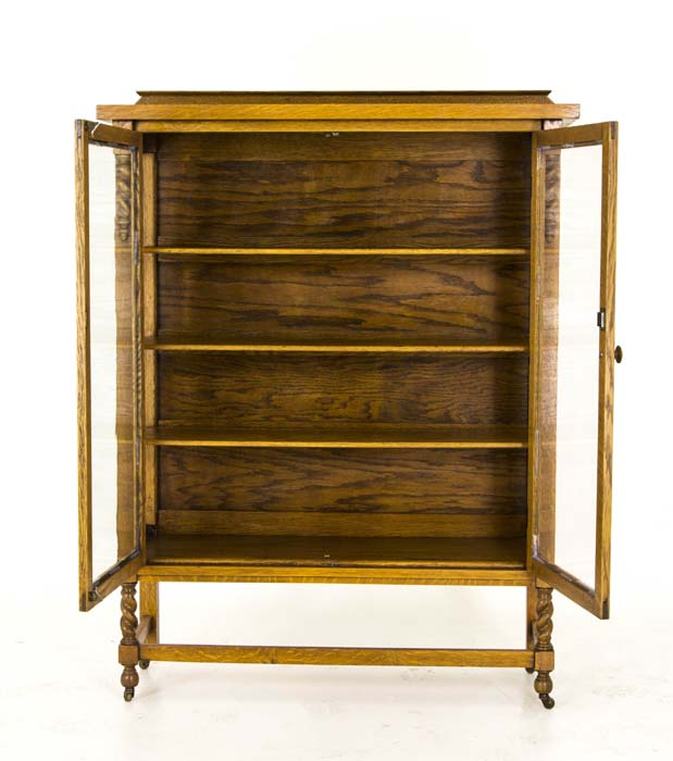 Antique Display Cabinet | Vintage China Cabinet | Oak Display Cabinet |  Barley Twist | Canada, 1920 | B735 - Antique Display Cabinet Vintage China Cabinet Canada, 1920 B735