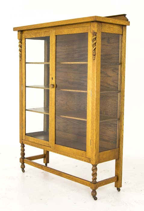 barley display antique hutch oak antiques china vintage canada cabinet twist