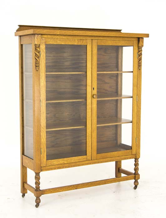 Antique Display Cabinet | Vintage China Cabinet | Oak Display Cabinet |  Barley Twist | Canada, 1920 | B735 - Antique Display Cabinet Vintage China Cabinet Canada, 1920 B735