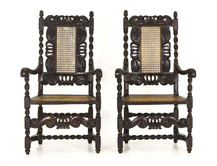 jacobean chairs - Antique Chairs Jacobean |Barley Twist 2 Arm Chairs Scotland, 1880