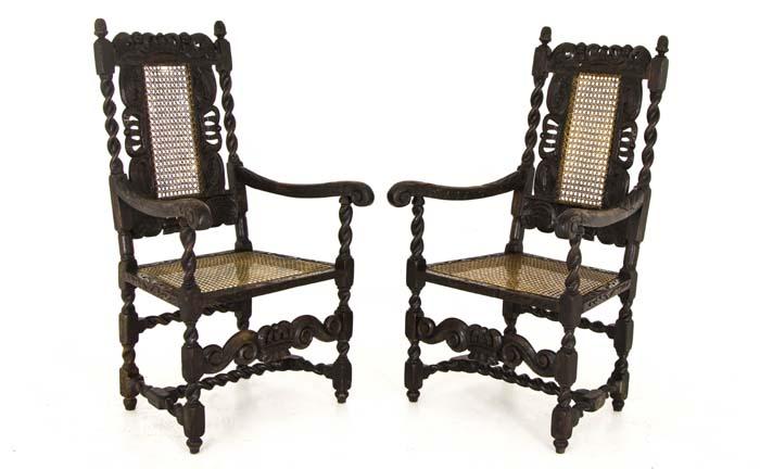 Antique Armchairs   Jacobean   Barley Twist   2 Arm Chairs   Scotland, 1880    B755 - Antique Chairs Jacobean  Barley Twist 2 Arm Chairs Scotland, 1880