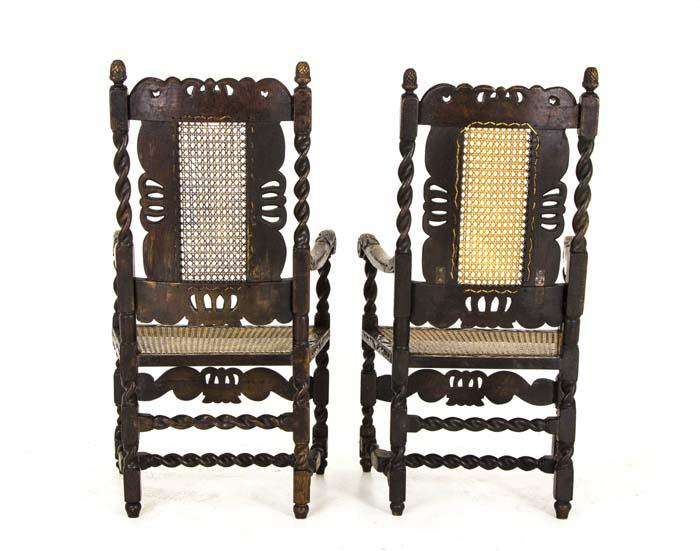 Antique Armchairs | Jacobean | Barley Twist | 2 Arm Chairs | Scotland, 1880  | B755 - Antique Chairs Jacobean |Barley Twist 2 Arm Chairs Scotland