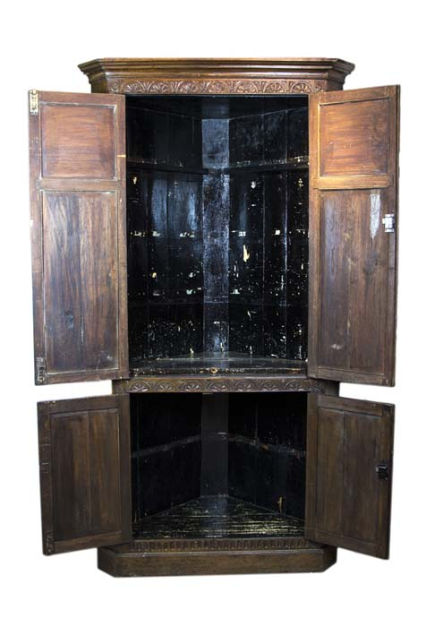 solid oak corner cabinet - Antique Corner Cabinet, Victorian, Very Large And Heavily Carved, 1970