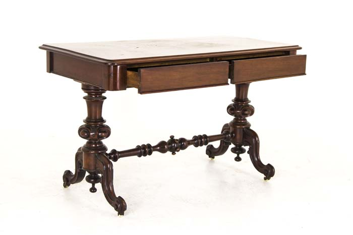 - Antique Victorian Library Desk Mahogany Writing Table B752